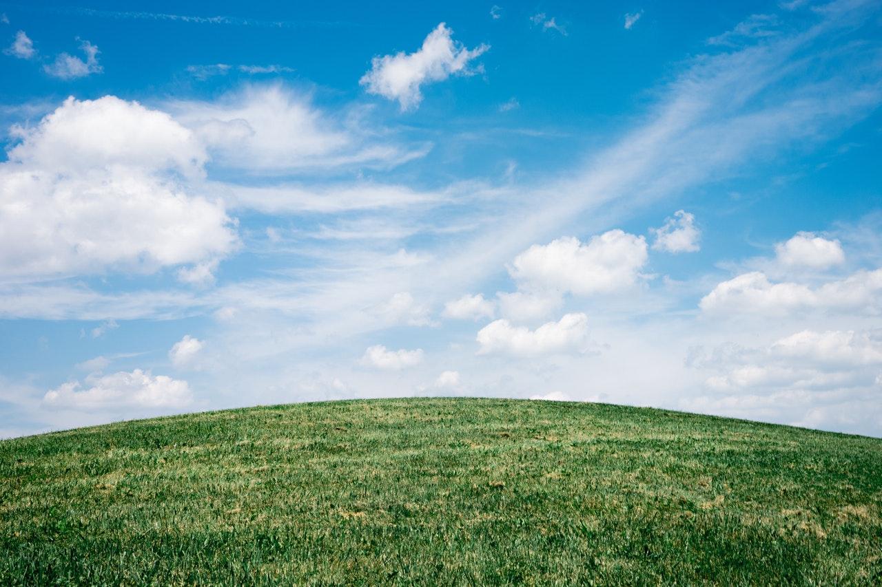 a blue sky over green grass